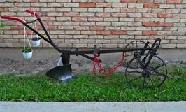 Old restaurated plow, with new looks Stock Images