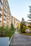 Old but restored communist flats in big prefab house Royalty Free Stock Photos
