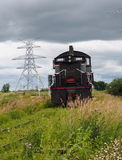 Old Restored Locomotive In Field At Alberta Railway Museum Royalty Free Stock Image