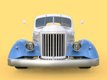 Old restored pickup. Pick-up in the style of hot rod. 3d illustration. White and blue car on a yellow background. Old restored pickup. Pick-up in the style of Stock Photography