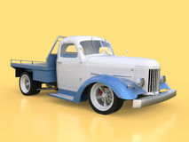 Old restored pickup. Pick-up in the style of hot rod. 3d illustration. White and blue car on a yellow background. Royalty Free Stock Photo