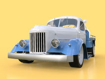 Old restored pickup. Pick-up in the style of hot rod. 3d illustration. White and blue car on a yellow background. Stock Photos