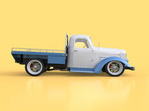 Old restored pickup. Pick-up in the style of hot rod. 3d illustration. White and blue car on a yellow background. Stock Photography