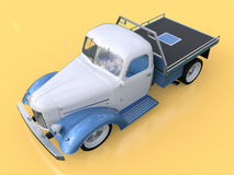 Old restored pickup. Pick-up in the style of hot rod. 3d illustration. White and blue car on a yellow background. Royalty Free Stock Images