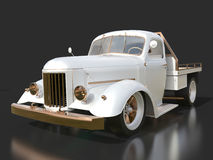 Old restored pickup. Pick-up in the style of hot rod. 3d illustration. White car on a black background. Royalty Free Stock Image