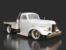 Old restored pickup. Pick-up in the style of hot rod. 3d illustration. White car on a black background. Royalty Free Stock Images