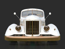 Old restored pickup. Pick-up in the style of hot rod. 3d illustration. White car on a black background. Stock Photos