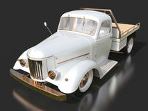 Old restored pickup. Pick-up in the style of hot rod. 3d illustration. White car on a black background. Royalty Free Stock Photos