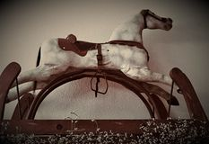 Old restored rocking horse stock photos
