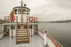 Old restored steamboat. A view of the wheel house, superstructure and the forward deck of the restored antique steamship, Virginia V on Lake Union, Seattle royalty free stock photos