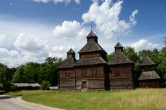 Old Resurrection wooden church from Poltavshina region ,Ukraine Royalty Free Stock Photo