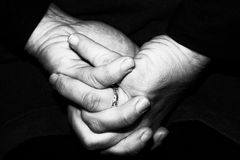 Old retired woman crossed hands Royalty Free Stock Images