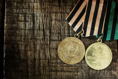 Old retro aged photo effect medal of great patriotic war Stock Images