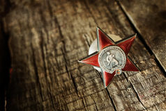 Old retro aged photo effect medal of great patriotic war Stock Photos