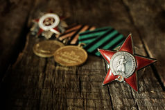 Old retro aged photo effect medal of great patriotic war Royalty Free Stock Photography