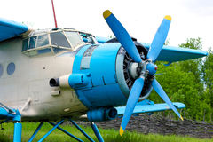 Old retro airplane on green grass Stock Images
