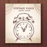 Old retro alarm clock card Royalty Free Stock Images