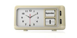 Old retro alarm clock, September 1st date, white background, isolated. 3d illustration. Back to school. Old retro vintage alarm clock with September 1 date text vector illustration