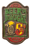 Old Retro Antique Draft Beer Sign Isolated, White Royalty Free Stock Image