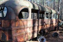 Old Retro Antique School Bus in Junkyard. Old Retro Antique Yellow School Bus in Junkyard Vintage Transportationn Stock Image
