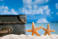 Old retro antique suitcase on beach with starfish, sea and sky b Royalty Free Stock Photography