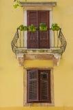 Old retro balcony with flowers Croatia Zadar Stock Photo