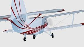 Old retro bi plane isolate on white. 3d rendering Stock Image