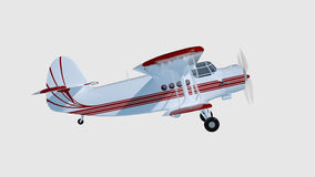 Old retro bi plane isolate on white. 3d rendering Royalty Free Stock Photography