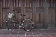 Old black retro bicycle in Vietnam royalty free stock photos