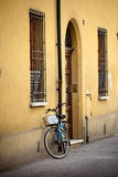 Old retro bicycle with basket in Italy Royalty Free Stock Photography