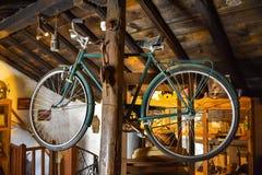 Old retro bicycle, vintage concept stock photo