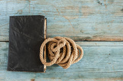 Old retro book with rope Stock Image