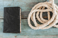 Old retro book with rope Stock Photos