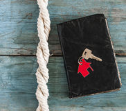 Old retro book with rope Royalty Free Stock Image