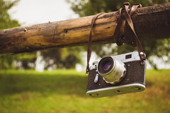 Old retro camera. On the background of the Carpathian Mountains stock photo