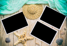 Old retro camera with black photographs Royalty Free Stock Images