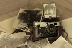 Old retro camera. On vintage wooden boards abstract background stock photography