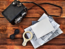 Old retro camera on wooden boards Royalty Free Stock Photo