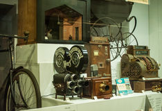 Old retro cameras displayed in showcase in London Science Museum Stock Image