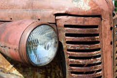 Old retro car with a headlamp Stock Photo