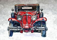 Old retro car. Painting wet watercolor on paper. Naive art. Drawing watercolor on paper. Old retro car. Painting wet watercolor on paper. Naive art. Abstract vector illustration