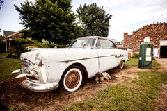 Old retro car on the Route 66. In Kansas, USA Royalty Free Stock Photo