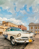 Old retro car staying at Jose Marti square Stock Photo