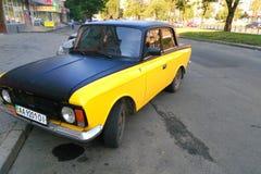 old retro car on the street of the city of Kiev, Ukraine Stock Photos