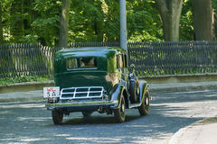 Lviv, Ukraine - June 4, 2017:Old retro car Fiat 518 with its owner and an unknown passenger taking participation in race Leopolis  Stock Photo