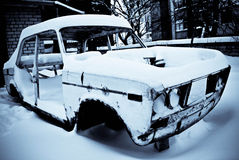 An old retro car in the winter Stock Photo