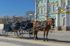 Old Retro Carriage in Front of Winter Palace Hermitage Museum on Palace Square in St. Petersburg, Russia. Historical Old- royalty free stock photography