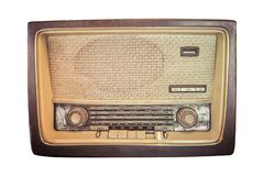The Old retro classic radio from 1950-1960 and the years. isolated white background. Old retro classic radio from 1950-1960 and the years. isolated white royalty free stock photography