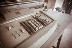 The Old retro classic typewriter on wood.vintage tone stock image