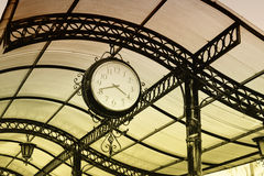 Old retro clock of one central station Stock Photography